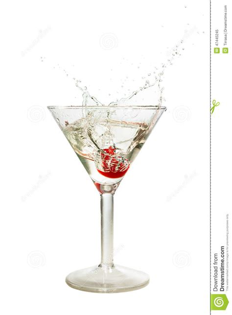 martini white splash of cherry in martini glass stock photo image