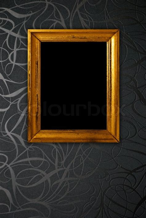 gold frame on black vintage wallpaper background stock photo colourbox