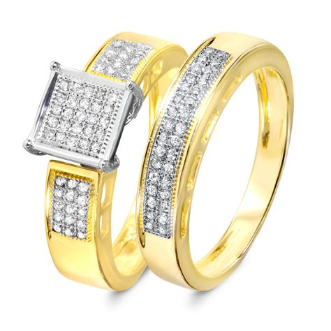 1 4 carat bridal wedding ring set 14k yellow gold