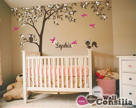 Wall Decal Baby Nursery Baby Nursery Wall Decals Tree Wall Decal Tree Decal Owl And Fox Decal Large Approx 121