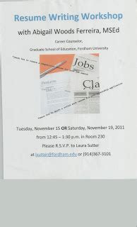Resume Writing Workshop Gss News And Views November 10 2011