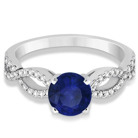 Blue Sapphire 10 40ct blue sapphire twist infinity engagement ring 14k