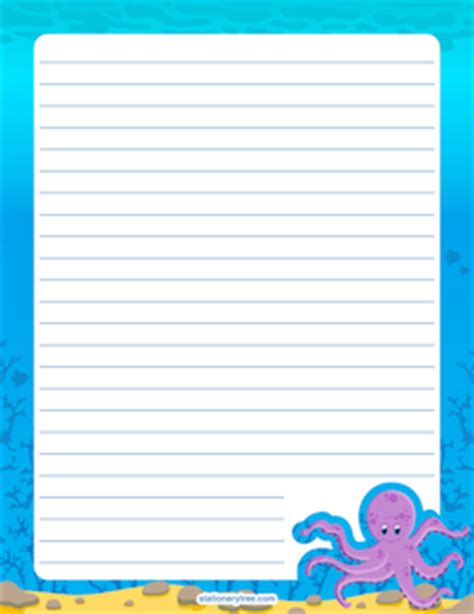 free printable octopus stationery free printable stationery and writing paper page 4
