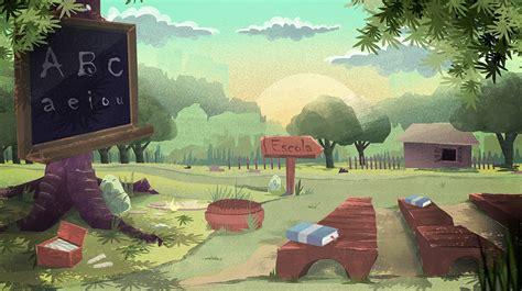 artstation cartoon background school ederson fungaro