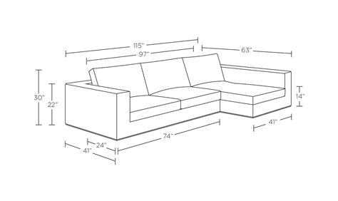 sofa lengths sectional sofa measurements trend sectional sofa