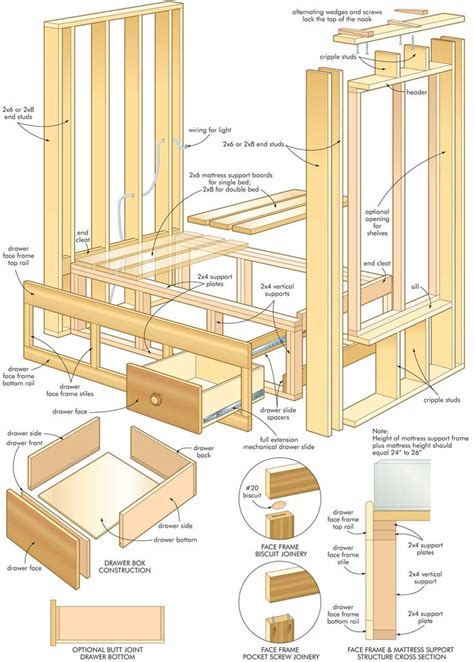 bed plans built in bunk bed dimensions woodworking projects plans