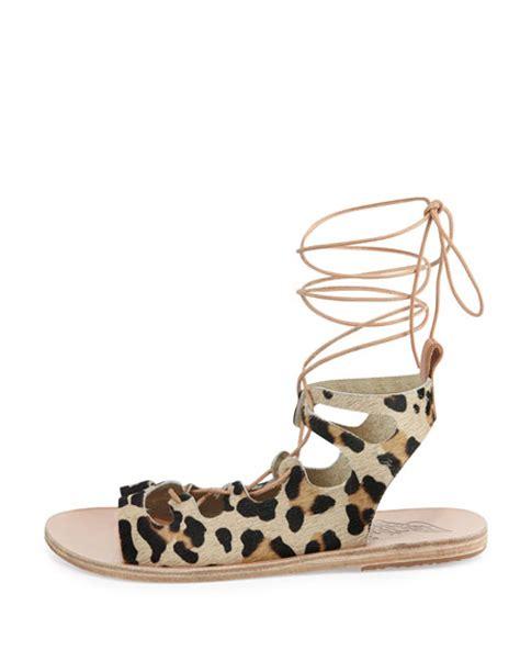 leopard lace up sandals ancient sandals antigone lace up calf hair sandal