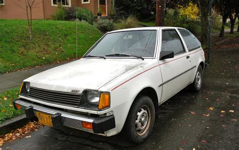mitsubishi fiore hatchback old parked cars 1983 plymouth colt