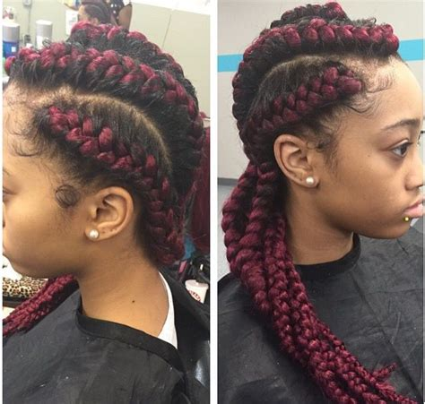 Red Cornrow Braided Hair | red cornrow braids with weave braids pinterest red