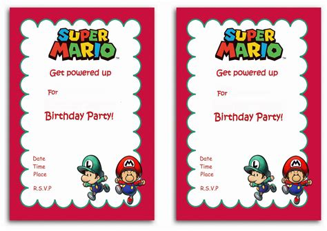 Mario Invitation Template mario birthday invitations birthday printable