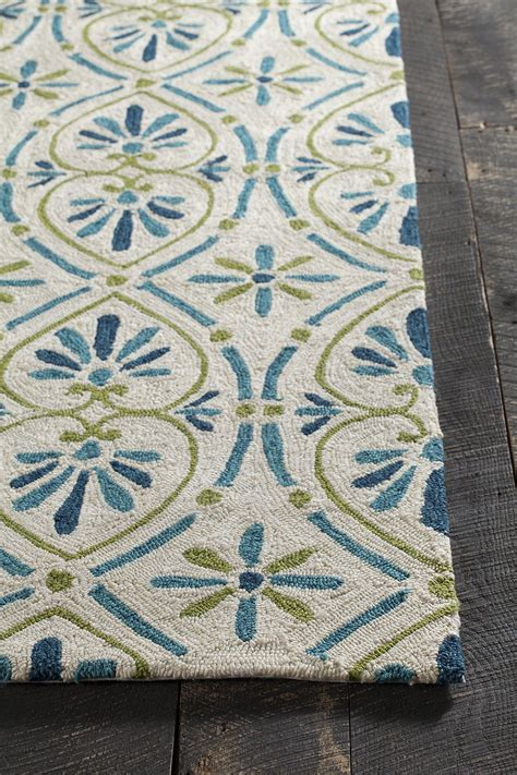 Blue And Green Outdoor Rug Terra Collection Tufted Area Rug In Blue Green Design B Burke Decor