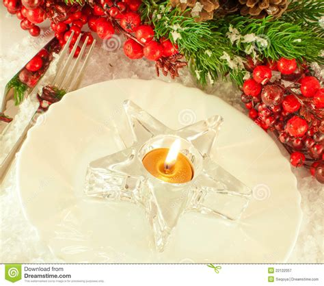 christmas table layout candlestick royalty free stock