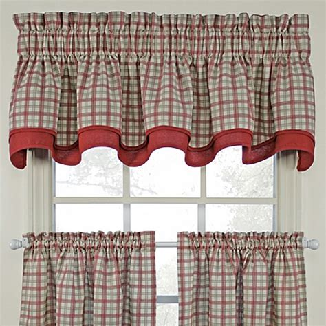 bristol plaid double valance in red bed bath beyond