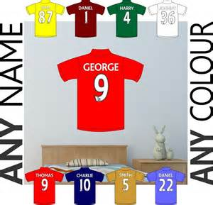 personalised football shirt wall sticker boys girls wall stickers archives football bedrooms