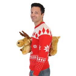 Red 3d christmas sweater with stuffed moose ugly christmas sweaters