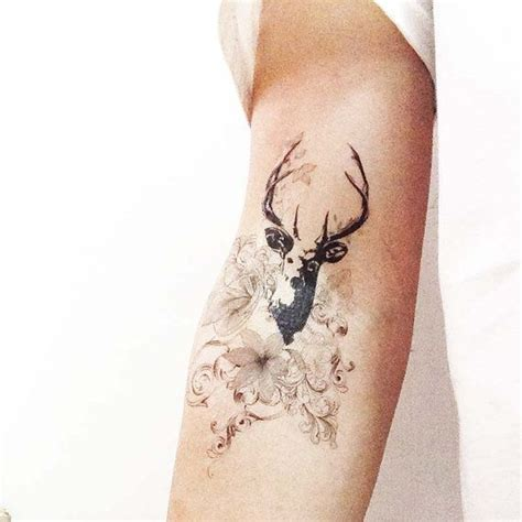 tattoo eyebrows red deer tattoos floral and deer temporary tattooz68 by justtats