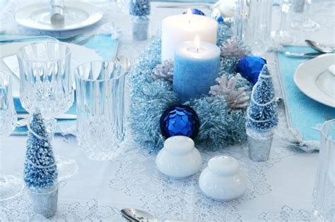 Blue And Silver Decorations by Tables Sets Blue Centerpieces Candles