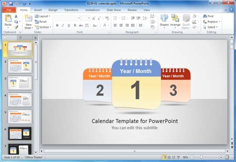 calendar template for powerpoint time management powerpoint templates
