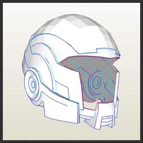Papercraft Helmet Template - mass effect size open version n7 breather helmet