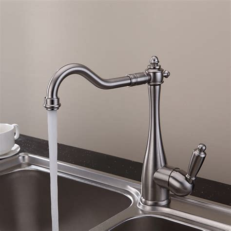 solid brass kitchen faucet solid brass nickel brushed finish kitchen faucet at faucetsdeal