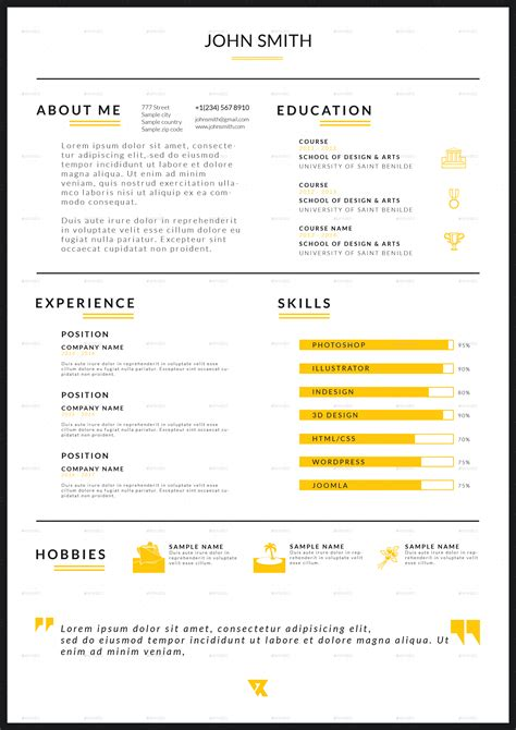envato resume templates rv resume v 1 by reginevdesign graphicriver