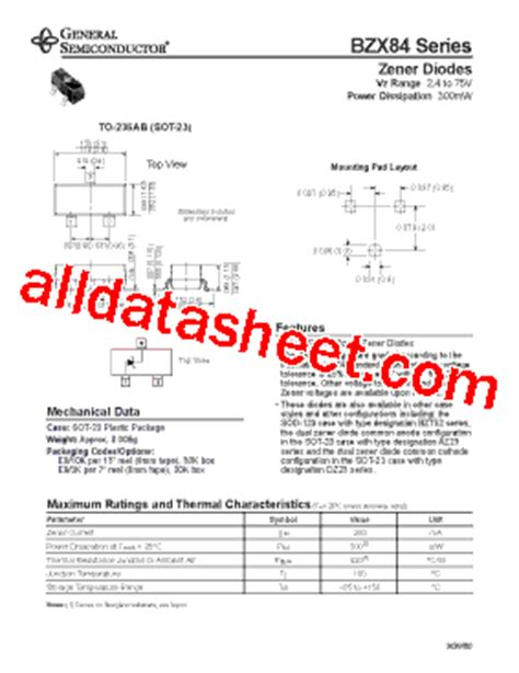 general semiconductor zener diode bzx84 c3 datasheet pdf general semiconductor