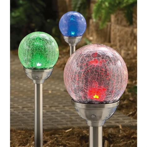 Outdoor Light Spheres 6 Crackle Sphere Solar Lights 148349 Solar Outdoor Lighting At Sportsman S Guide