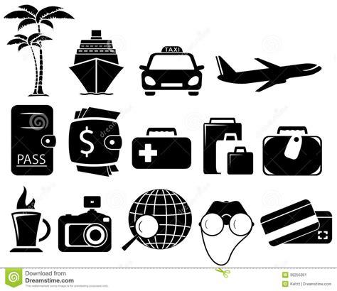 imagenes de objetos a blanco y negro objetos negros determinados del viaje imagen de archivo