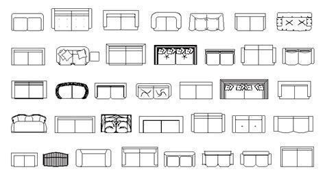 Librerías de Bloques AutoCAD: sofás en planta de 2 plazas