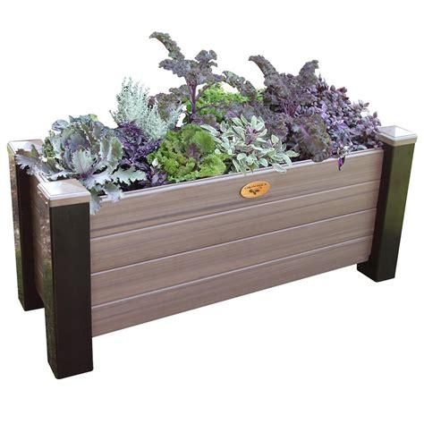 vinyl planter boxes gronomics 18 in x 48 in x 20 in maintenance free black and walnut vinyl planter box mfpb 18