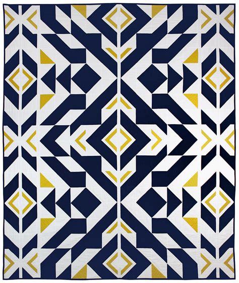 modern pattern quilted fabric bravo indigo by caroline greco 81x61 quot