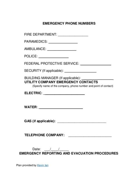 osha emergency action plan template template design