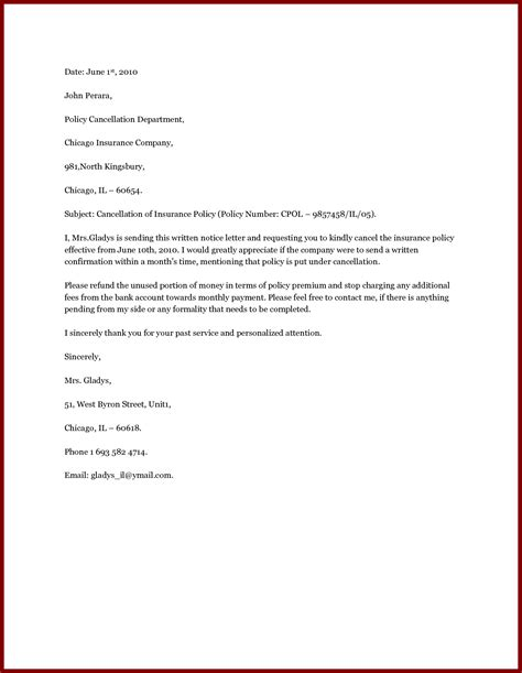 Letter To Cancel Vehicle Insurance How To Write A Insurance Cancellation Letter With Sle Cover Letter Templates