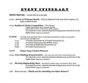 event itinerary template sle event itinerary template 9 dcouments in