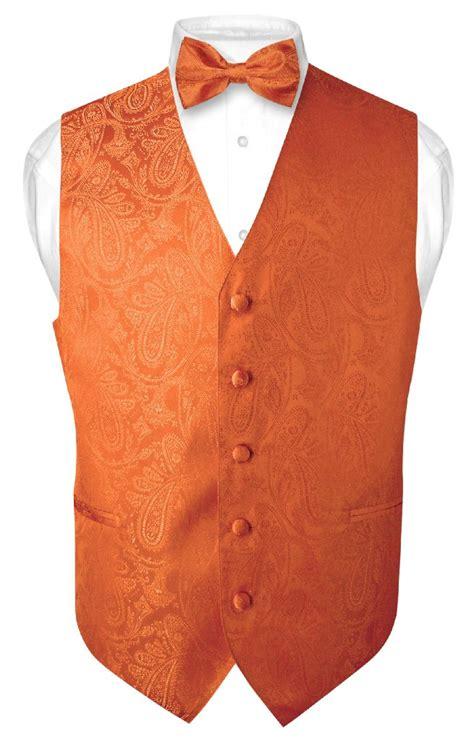 vest orange s paisley design dress vest bow tie burnt orange