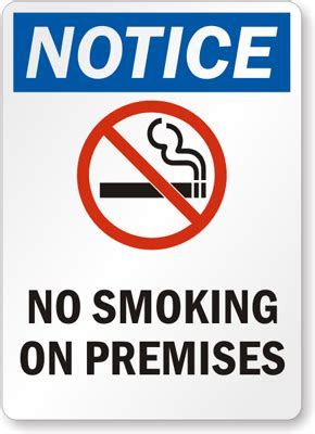 printable no smoking on premises sign notice sign no smoking on premises sign with graphic