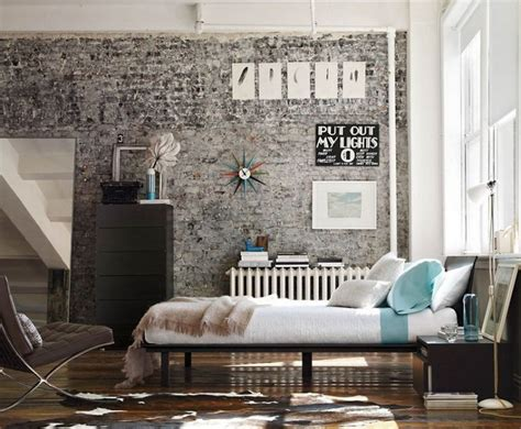 Industrial Bedroom Wall Brick Wall Industrial Bedroom Interior Decorating Ideas