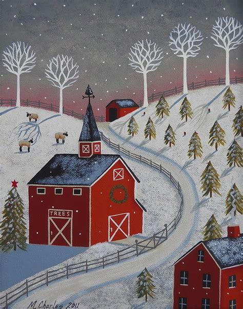 christmas tree farm painting  mary charles