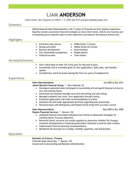 Resume Sles For Finance Best Sales Representative Resume Exle Livecareer