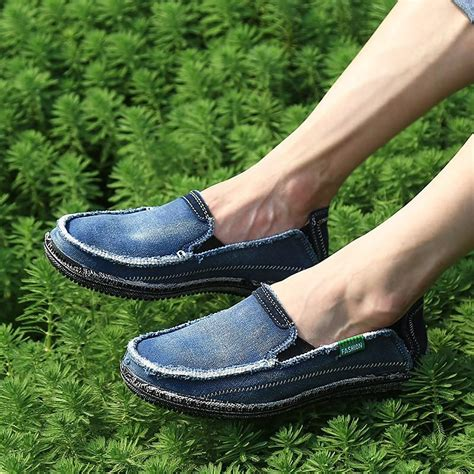Slip On Casual Denim Grey agsan classic canvas shoes 2017 lazy shoes blue grey green canvas moccasin slip on