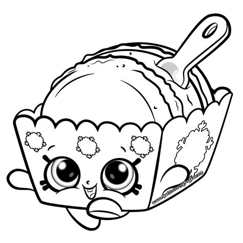 Simple Squishy Black Paw melty macaron shopkins coloring page get coloring pages