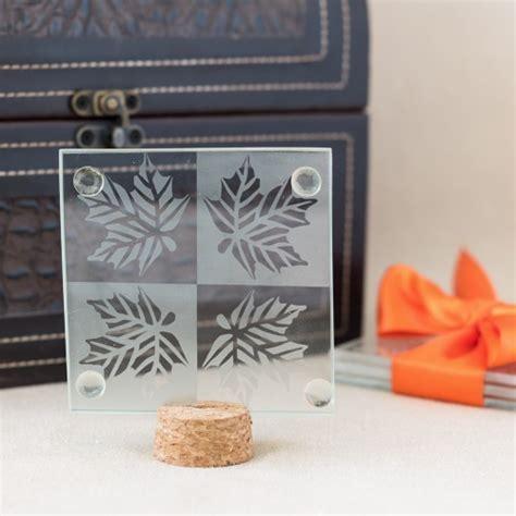 Autumn Leaf Glass Coasters Favor