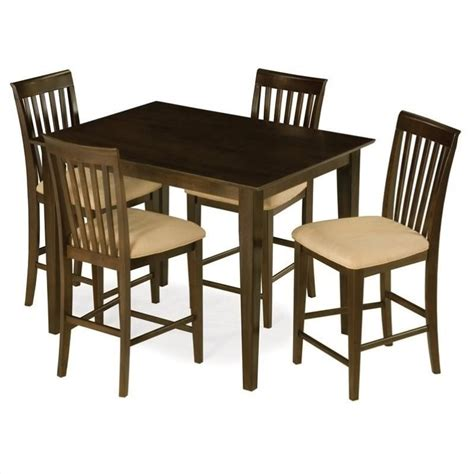 Shaker Dining Table And Chairs Atlantic Furniture Shaker Counter Height Pub Dining Table In Antique Walnut Shaker Pt Aw