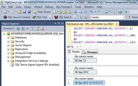 format file sql server convert getdate