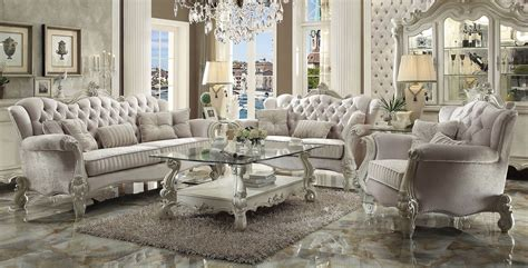 Versailles Upholstery by Versailles Sofa Upholstered Ivory Velvet Acme 52105 Usa