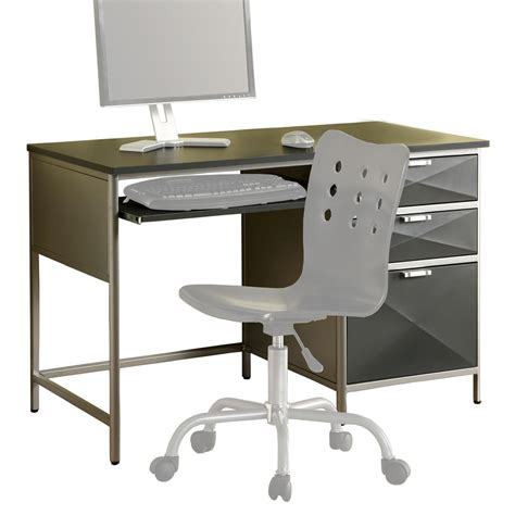Gray Computer Desk by Venetian Worldwide Largo Silver Gray Computer Desk Modern Computer Desk