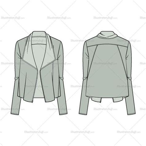 s asymmetric zip jacket fashion flat template