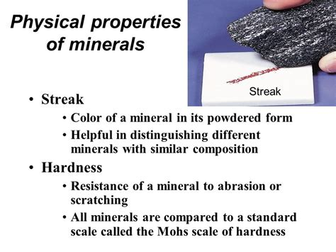 color of a powdered mineral atoms and minerals magnet and iron and slide ppt