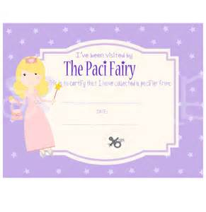 sale paci pacifier fairy certificate digital printable instant