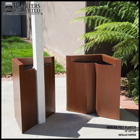 L Post Planter modern tapered square fiberglass post planter 24in l x